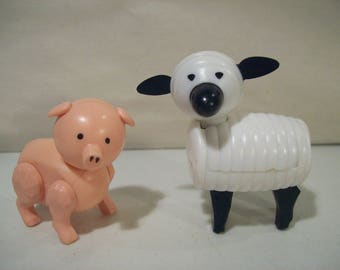 Lot of 2 Vintage Fisher Price Little People Farm Barn Animals, Pig & Sheep Lamb, 1985-86