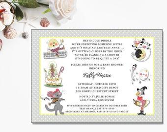 Nursery Rhymes Invitation | Baby Shower | Printable Editable Digital PDF File | Instant Download | BSI374DIY