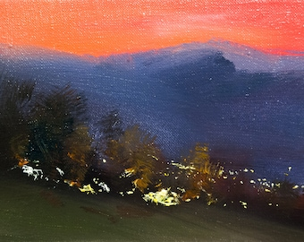 Small Oil Art Mountain Oil Painting Landscape Art, Sunset Painting Impressionist Art, Sky Painting