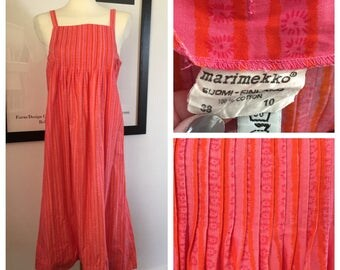 Vintage Marimekko Dress 1970's / Size 38, 10, Small-Medium / Finland Pink Orange Floral Sun Dress