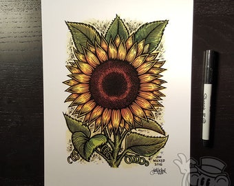 SUNFLOWER 8.5 x 11 Signed Artwork Print by Jin Wicked
