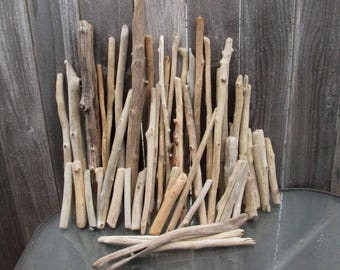 """48 Natural Driftwood Pieces Large 24"""" to Small 5"""" Sticks Bulk -Craft Supply - Carving - Wind Chimes - Terrarium Garden Art DW89"""