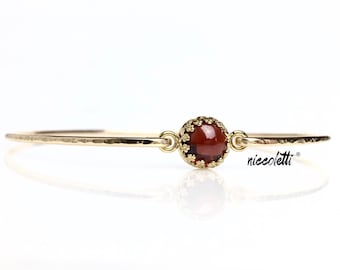 Genuine Garnet Bangle Bracelet / 14k Gold Filled or Sterling Bangle /January Birthstone / Mothers Jewelry / Red Gemstone / Gift for Wife