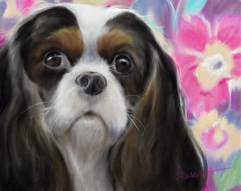PRINT Cavalier King Charles Spaniel Tri Color Colorful Whimsical Print for the dog lover Mary Sparrow