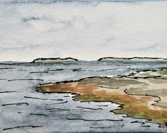Maine Art Miniature Seascape Watercolor Painting ACEO Pemaquid Point Artist Trading Card Original Art Kathleen Daughan Western Avenue Lowell