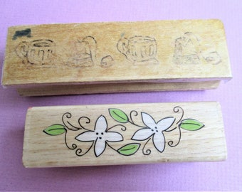2 Border Papercraft Rubber Stamps Set of 2 Coffee Cups and Flowers Art Craft Supplies Scrap Booking Stamping Greeting Card Making Planner