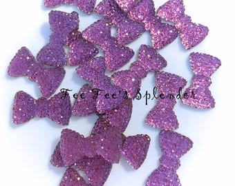20 pc set--Rhinestone Bow Flatback resin- Rhinestone Cabochon-- Purple