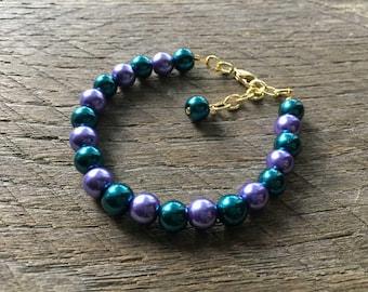 Forsaken Undead Bracelet, World of Warcraft Inspired Bracelet, Character Inspired Pearl Bracelet, Purple and Teal Glass Pearl Bracelet