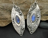 Blue moonstone earrings, large textured sterling silver, long dramatic hanging abstract leaves floral design, magical sky goddess