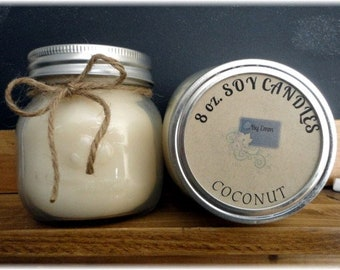 Coconut 8 oz Soy Candle, Soy Wax Candle, Coconut Scent Candle, Mason Jar Candle, Fruit Scent, Summer Scent, Beach Scent, Jar Candle