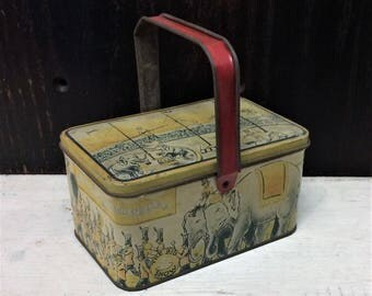 Vintage 1920s Circus Tin Box, Small Lunch Box Style, Circus Animal Art, Yellow Red, Elephant Giraffe Zebra, Antique Tin Box