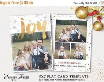 ON SALE Holiday Christmas Card Template for Photographers, 5x7in Christmas Card Adobe Photoshop psd Template,  INSTANT Download, sku xm15-4