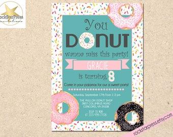 Donut birthday invitation, girl birthday invitation, doughnut party invitation, girl birthday invite, turning 8 birthday invitation _1303