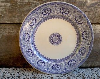 Antique Purple Transferware English Dinner Plate, Floral, Medallions and Arabesques Transferware