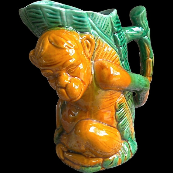 Majolica Monkey Pitcher, Serving, Pottery Art