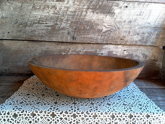 Large Primitive Farm House Wooden Dough Bowl, Kitchen, Baking, Colonial Decor, Early American Dough Bowl