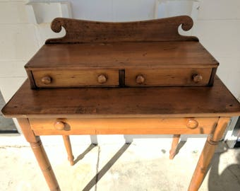 Antique Vanity Table / Old Side Table, Small Buffet / Three Drawers