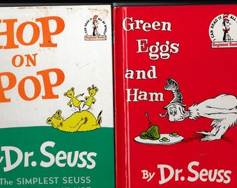 Two Dr. Seuss Classics - Hop on Pop - Green Eggs and Ham - I Can Read it All By Myself Beginner Books - Vintage Childrens Book -
