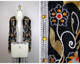 Avant Garde Jewel Beaded Sequined Bolero Jacket / Jeweled Sequined Cropped Bolero