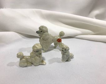 Vintage Miniature Porcelain Poodles Set of 3 Large Medium Small Made in Japan
