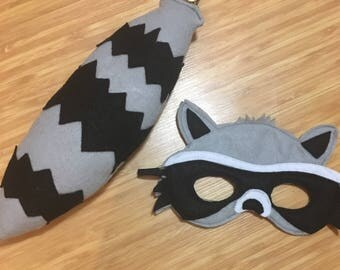 Raccoon mask and tail set // Raccoon mask // Raccoon costume // Raccoon outfit // Raccoon Party