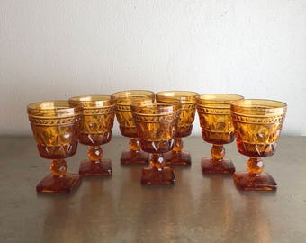 vintage amber Colony Park Lane wine glass goblets stemmed glasses set of 7  mid century