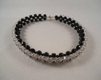 "Bracelet ""Crystal River"" black and white Swarovski Crystal"