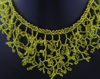 Light green coral miyuki beads necklace