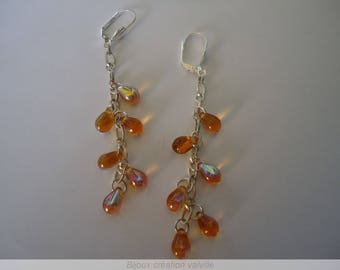 River amber swarovski crystal earrings