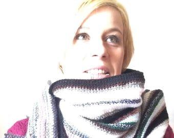 Multi stripe extra long scarf wrap / Eve Damon