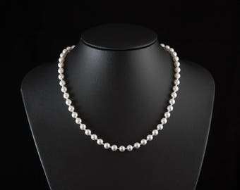 White Pearl Necklace, Classic Simple White Pearl and Sterling Silver Necklace, Wedding & Bridal Jewelry, Swarovski Pearls
