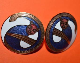 Vintage Enamel Cloisonne Earrings Cat 1980s