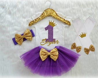 Baby Girl First Birthday Bodysuit, One Gold and Purple Glitter CROWN with Custom Name, cake smash photo outfit shoot, Short Long Sleeve Size
