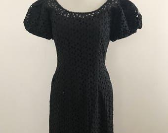 Vintage 1950s Jonathan Logan Black Eyelet Lace Dress / 50s Stunning Designer Black Cotton Lace Pencil Dress