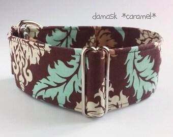 "brown dog collar *damask caramel*, boy dog collar, adjustable, custom, martingale, buckle, tag collar; 1""- 2"" wide; XS- XL, greyhound collar"