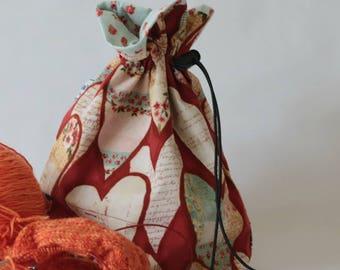 Small drawstring project bag hearts and roses