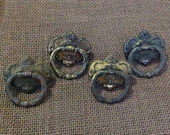 Set of 4 antique drawer cabinet ring handles pulls restoration furniture hardware rustic metal Victorian farmhouse shabby cottage home decor