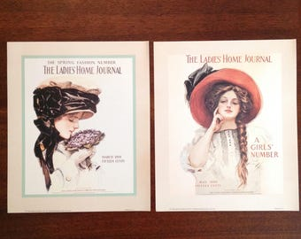 Collection of 4 magazine cover prints Ladies' Home Journal Victorian fashion illustrations romantic cottage art home decor ready for framing