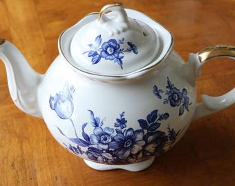 Blue and White English Teapot Pattern 6470 by Arthur Wood and Son - Tea Party, Shower, Wedding