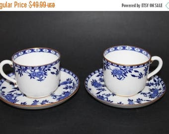 "ON SALE Two (2) MINTON Bone China Teacup and Saucer Set ""Delft"""