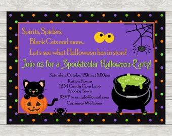 Kid's Halloween Party Invitation - Printable File or Printed Invitations