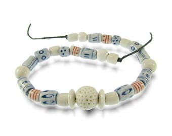 Porcelain Blue, Red and White Bead Set or Necklace Handmade in South Africa Artisan Clay Beads