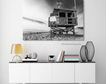 Lifeguard Tower Venice beach canvas art/black and white California decor/Luxury Wall Decor/Business Decor/Office Wall Art/girl nursery decor