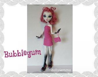 Monster High Doll Clothes - BUBBLEGUM pink Dress, Purse and Jewelry Set - Handmade Fashion by dolls4emma