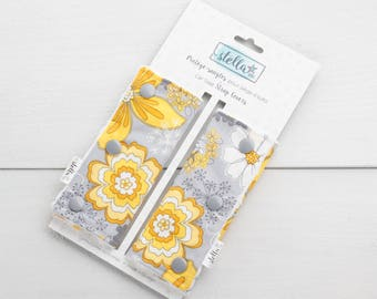 Baby Car Seat Strap Covers - flowers yellow and grey