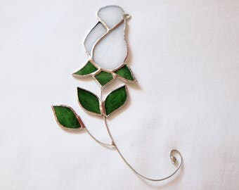 Stained Glass White Rose Suncatcher
