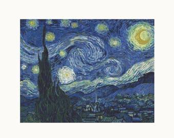 Cross Stitch Kit - The Starry Night - Vincent van Gogh - Landscape Embroidery Kit - Needlework DIY Kit (VGOGH07)