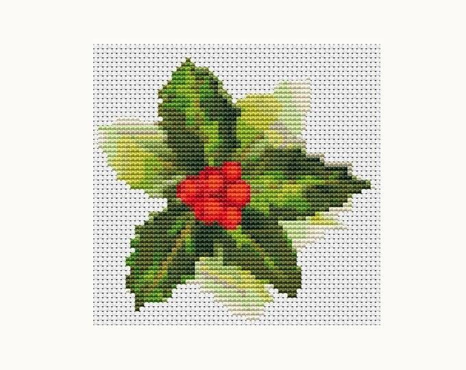 Mini Cross Stitch Pattern PDF, Embroidery Chart, Art Cross Stitch, Holiday Cross Stitch, Christmas Series: Christmas Holly (TAS016)