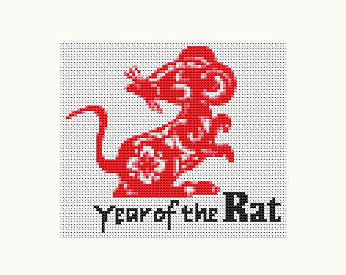 Year of the Rat, Chinese Zodiac Cross Stitch, Art Cross Stitch (TAS113)