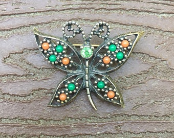 Vintage Signed Sarah Coventry Jewelry Pin Brooch Butterfly